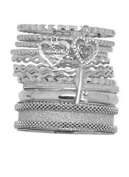 Plus Size Multi Textured Mesh and Embossed Bangles - 3193062926690