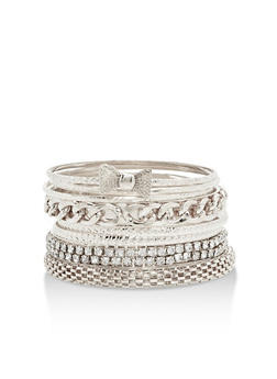 Multi Textured Bangles Set - 3193062928241