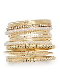 Set of 17 Multi Textured Bead and Rhinestone Bangles - 3193062929493