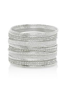 Metallic Rhinestone Bangles - 3193067255275