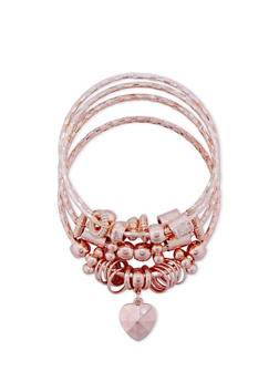 Plus Size Textured Charm Bangles - 3193072370212