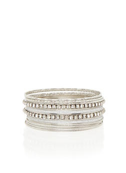 Plus Size Assorted Metallic Bangles Set - 3193072371270