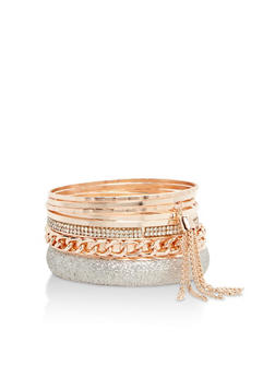 Plus Size Set of Assorted Multi Textured Bangles - 3193072692339