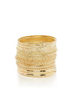 Assorted Chain Textured Bangles Set - 3193072692534