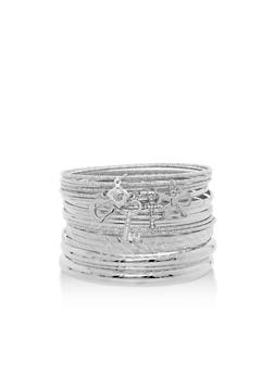 Plus Size Textured Bangles with Charms - 3193072692541