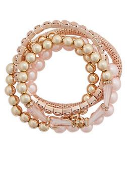 Set of 5 Assorted Beaded Rhinestone and Mesh Bracelets - 3194003200248