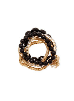 Set of 6 Stretch Bracelets with Varied Beads - 3194035150297