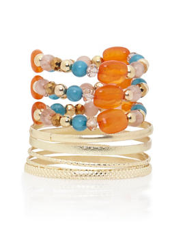 Set of 5 Bangles and 3 Beaded Bracelets - 3194035151049