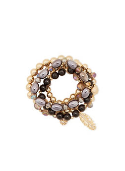 Set of 5 Stretch Bracelets with Varied Beads and Charms - 3194035152021
