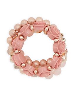 Floral Rhinestone Beaded Bracelets - 3194035152195