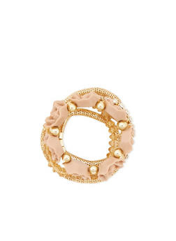 Set of 5 Stretch Bracelets with Rosette Accents - 3194035152993