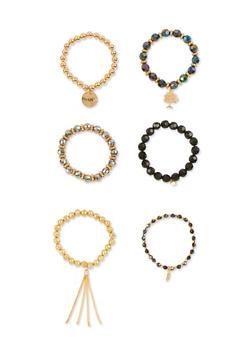 Set of 6 Assorted Beaded Bracelets - 3194035153502