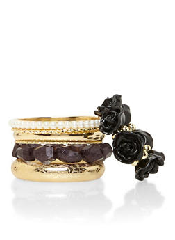 Set of 7 Assorted Bracelets with Roses and Pearls - 3194035155075