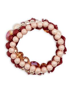 Rhinestone Rose and Glass Bead Bracelets - 3194035155911