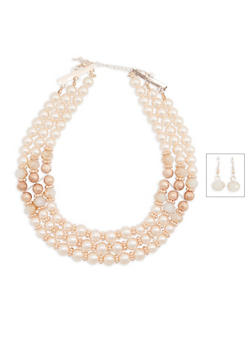 Triple Layer Faux Pearl Necklace with Drop Earrings - 3194035158126