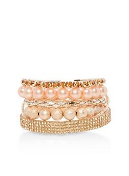 Set of 7 Beaded and Rhinestone Bracelets - 3194035158397