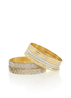 Set of 9 Bangles with Glitter and Crystal Accents - 3194057695376
