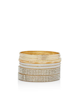 Glitter Rhinestone Bangles Set of 9 - 3194057696735