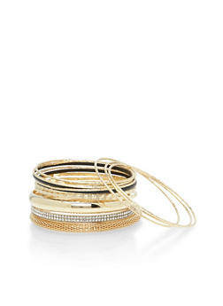 Plus Size Set of 13 Textured Bracelets with Rhinestones - 3194062814471