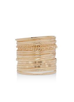 Plus Size Textured Bangles Set - 3194062817072