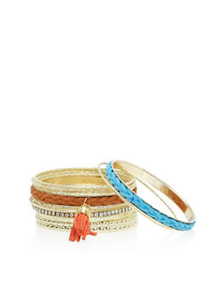 Set of 15 Suede Tassel and Rhinestone Bracelets - 3194062819318