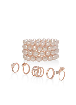 Faux Pearl Bracelets and Metallic Rings - 3194062923240