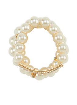 Faux Pearl and Rhinestone Bracelet Set - 3194062924966