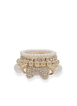Bow Faux Pearls Bracelet Set - 3194071210238