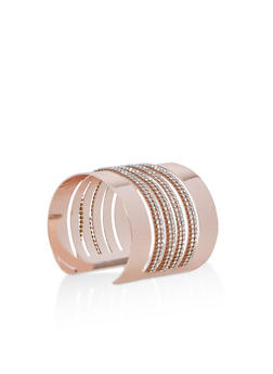 Metallic Rhinestone Cuff Bracelet - 3194071210482