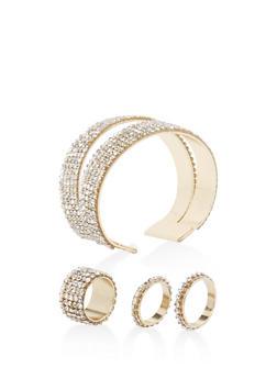 Rhinestone Double Row Cuff Bracelet and Rings - 3194071439000