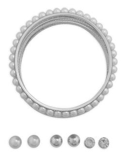 Assorted Bangle Bracelets and Stud Earrings Set - 3194072373091