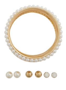 Assorted Bangle Bracelets and Stud Earrings Set - 3194072373091