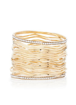 Set of 17 Wavy Bangles with Crystal Accents - 3194072691486