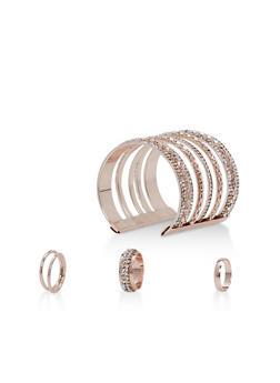 Rhinestone Cuff Bracelet with 3 Rings - 3194072691749
