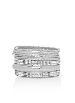 Braided Metallic Rhinestone Bracelet Set - 3194072692233