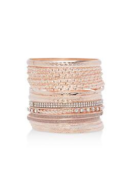 Plus Size Rhinestone Glitter Bangles Set - 3194072692587