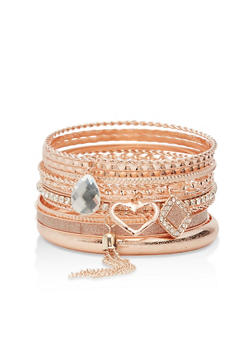Plus Size Textured Bangles with Tassel Charm - 3194072692728