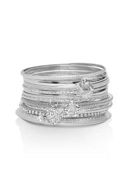 Plus Size Metallic Charm Bangles - 3194072692731