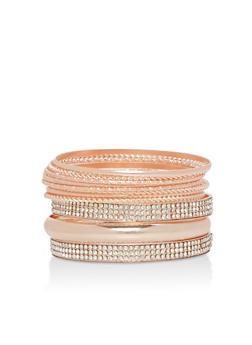 Plus Size Braided Rhinestone Bracelet Set - 3194072693322