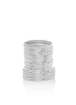 Metallic Multi Textured Tube Bangles - 3194073842324