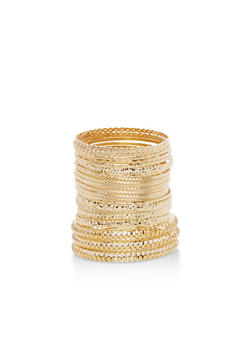 Metallic Multi Textured Tube Bangles - 3194073842324