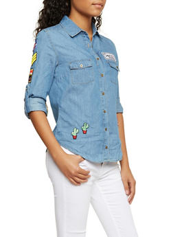 Chambray Shirt with Assorted Patches - 3284054216096