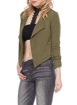 Online Exclusive - Cropped Open Front Blazer with Zip Back - OLIVE - 3289068192121
