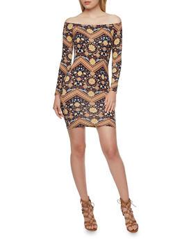 Off the Shoulder Mini Dress in Mixed Print - 3290054263435