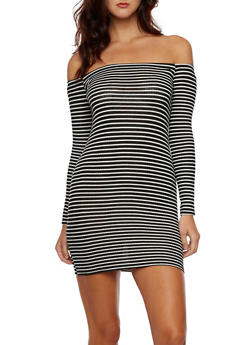 Off the Shoulder Striped Dress in Ribbed Knit - 3290054263437