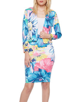 Floral Knit Blazer with Ruched Sleeves - BLUE - 3291020625688