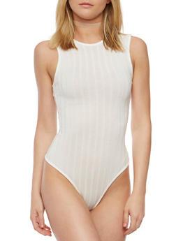 Sleeveless Rib Knit Bodysuit with Caged Back - 3307038347203