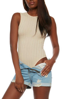 Sleeveless Rib Knit Bodysuit with Caged Back - 3307038347203