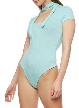 Rib Knit Choker Tie Bodysuit - 3307038347223