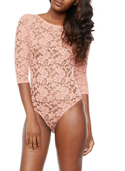 Long Sleeve Low Back Lace Bodysuit - 3307054268863